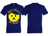 T-Hemd - Nettes Gesicht - Dont worry be happy - blau